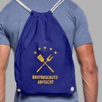 Turnbeutel als Rucksack getragen mit Motiv Bratenschutz-Aufsicht