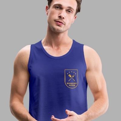 Mann mit blauem Leibchen, Motiv Bratenschutz-Aufsicht in Form eines Dienstabzeichens in gelb